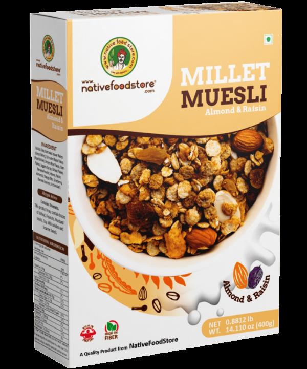 Native Food Store Millet Muesli Almond and Raisin - Asijah Europe